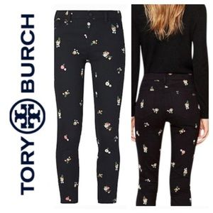 ⭐️TORY BURCH Black embroidered Straight Leg Pant